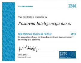 Poslovna inteligencija postala Platinum IBM Business Partner